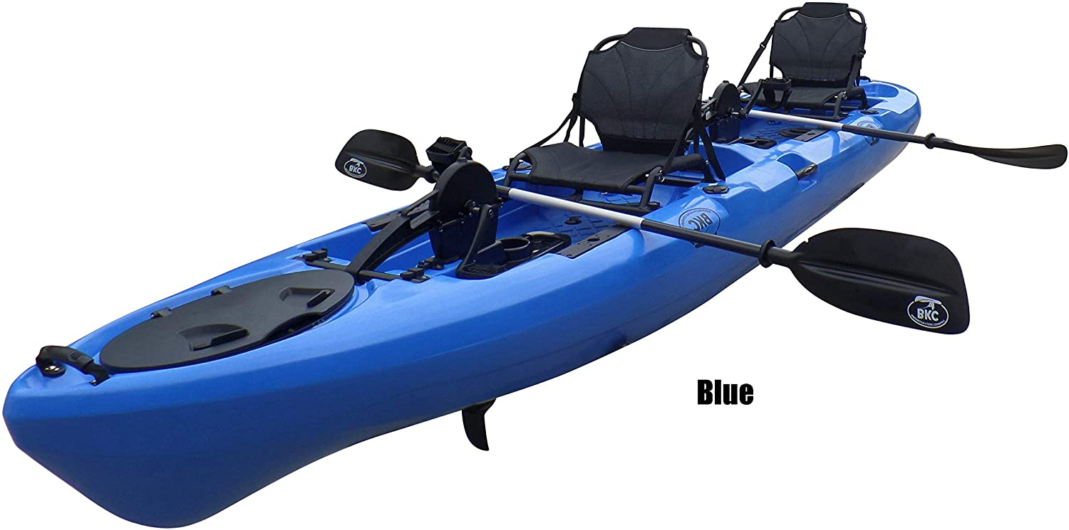 Bkc Pk14 14 Tandem Sit On Top Pedal Drive Kayak W Rudder System 2 Paddles 2 Upright Back Support Aluminum Frame Seats 2 Person Foot Operated Kayak