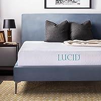 LUCID 10 Inch Gel Memory Foam Mattress - Dual-Layered - CertiPUR-US Certified - 25-Year Warranty