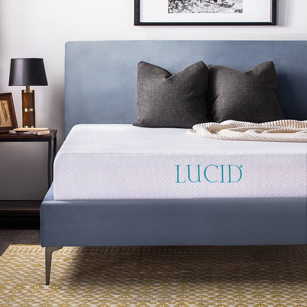 LUCID 10 Inch Gel Memory Foam Mattress - Dual-Layered - CertiPUR-US Certified - 25-Year Warranty - Short/RV Queen