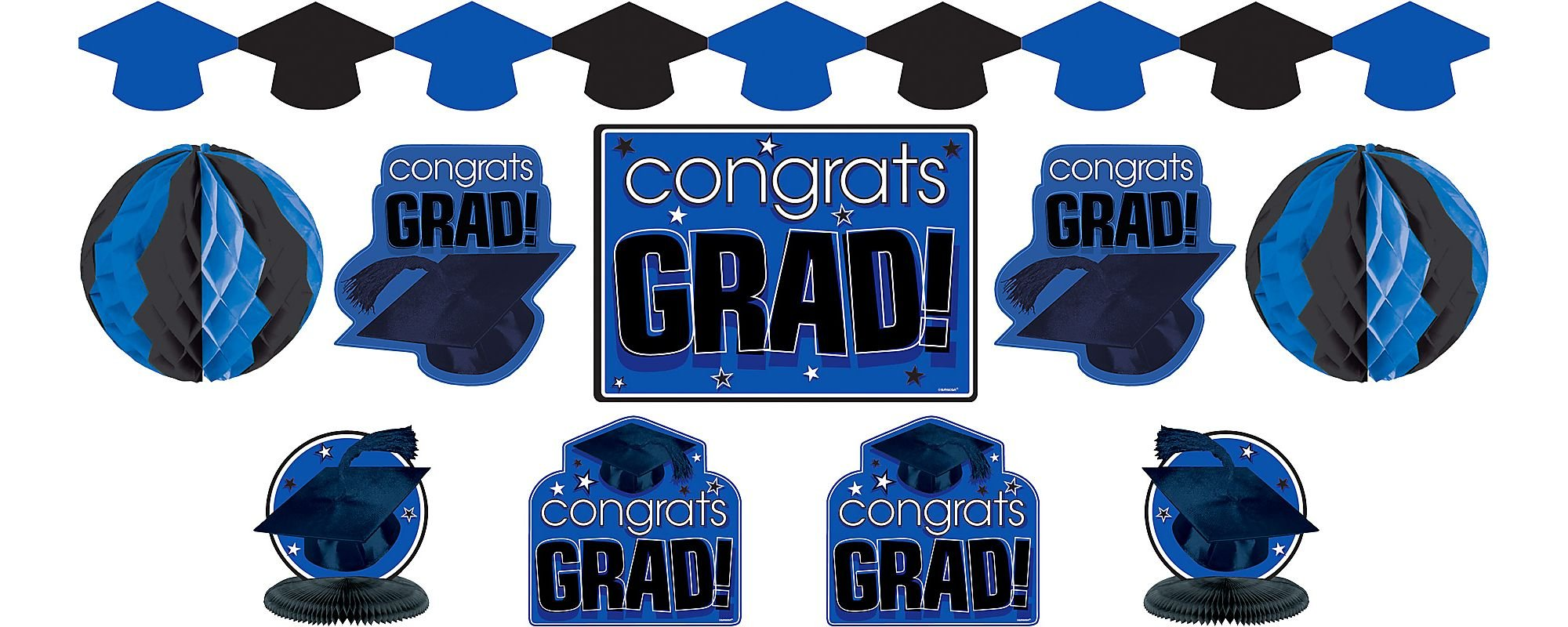 Amscan Congrats Grad! Graduation Party Room Decorating Kit (10 Piece), Royal Blue/Black, One Size