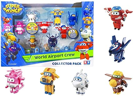 Super Wings - Juego de coleccionista con 15 Figuras de Juguete de Transform-a-Bots World Airport Crew, Serie 2, de 5,08 cm: Amazon.es: Juguetes y juegos