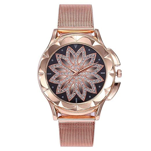 GHGJSKH Relojes Moda Mujer Oro Rosa Flor Rhinestone Relojes de Pulsera de Lujo Ocasional Femenino Reloj de Cuarzo Relogio Feminino: Amazon.es: Relojes