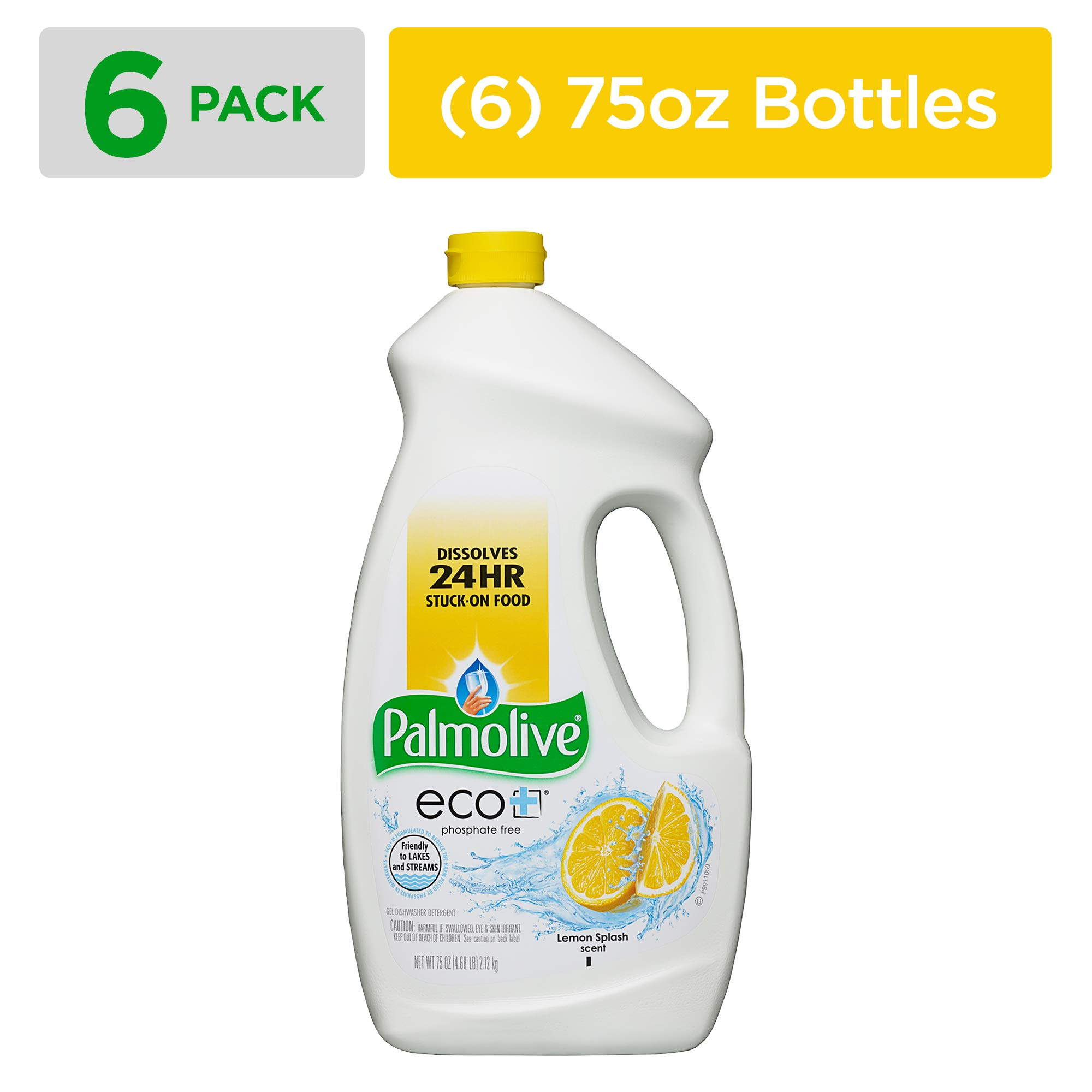 PALMOLIVE eco+ Lemon Splash Automatic Dishwashing Gel, 75 Fluid Ounce Bottle (Case of 6) (Model Number: 42706CT)