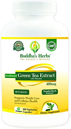 Decaffeinated Green Tea Extract – 400mg 50 EGCG – 200 Veg Capsules for Weight Loss – Independently Laboratory Tested