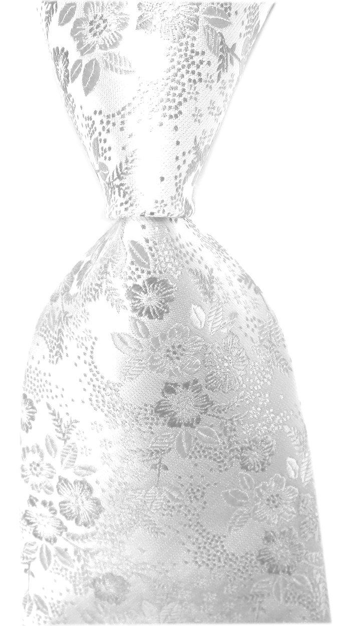 Secdtie Men's Silver Pure White Self Tie Floral Necktie Regular and Skinny Width