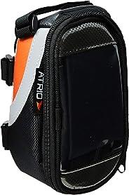 Bolsa com Porta Celular para Bicicleta Capacidade de 0.6L Impermeável com Touch Material em Poliéster e PVC Atrio - BI022, Multilaser, Mochilas, Capas e Maletas para Notebook, Preto/Laranja
