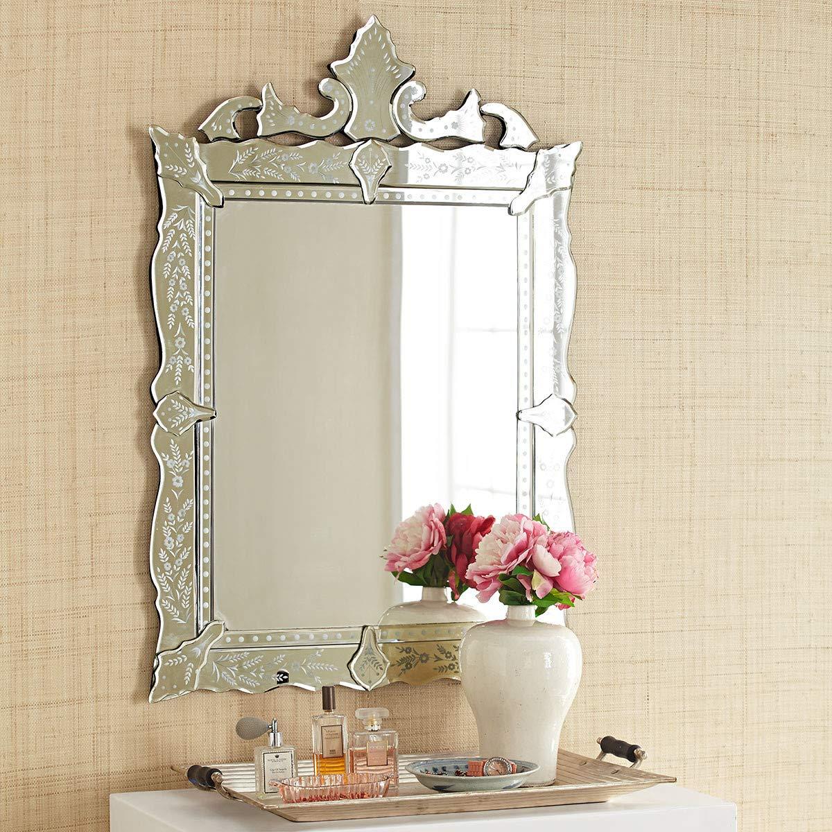 KOHROS Wall Mounted Squared Mirror, Venetian Mirror Decor for The Living Room, Bathroom, Bedroom (W 28'' x H 40'' Rectangle) by KOHROS