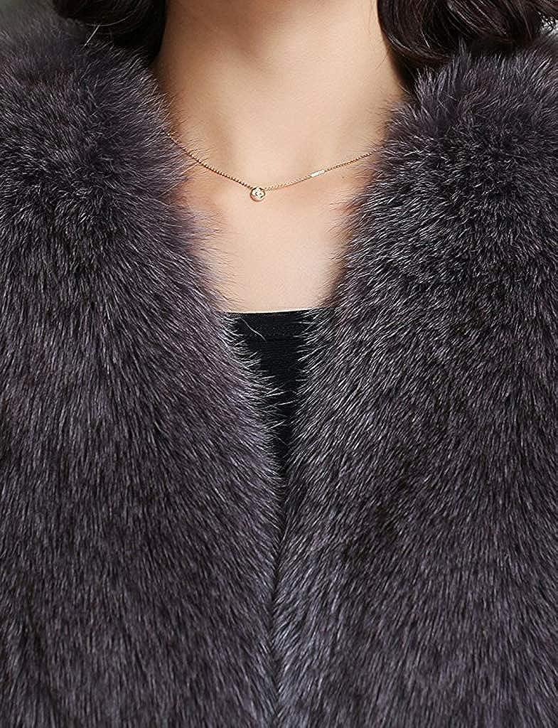 YR Lover Womens Winter Warm Slim Fit Real Fox Fur Vest Coat