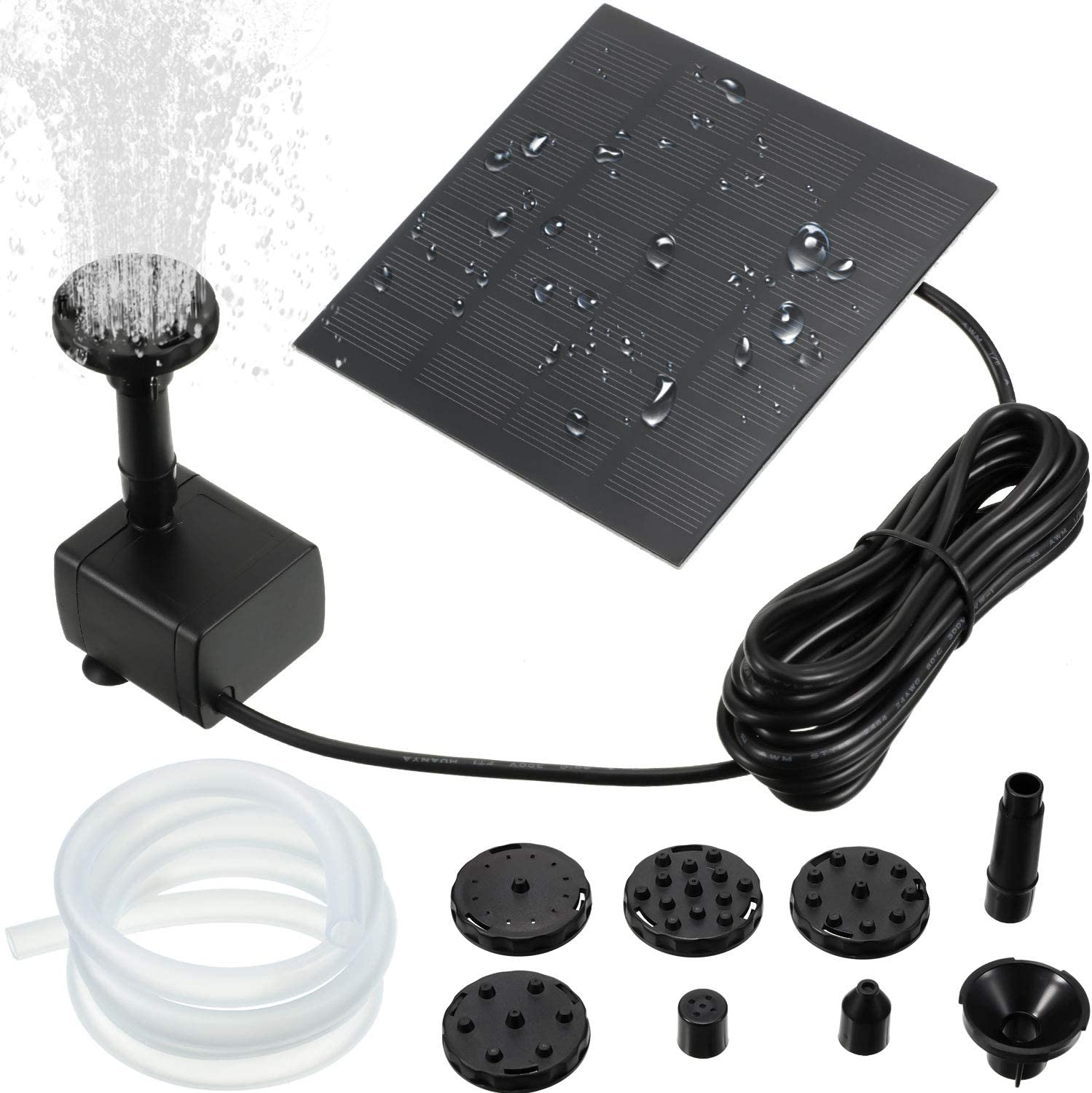 Solar Fountain Pump 1.5W 200L/H Solar Powered Panel Water Pump Garden Floating Pump with 6 Nozzles, Silicone Clear Tubing for Garden, Pool, Pond, Aquarium, Fountain Supplies