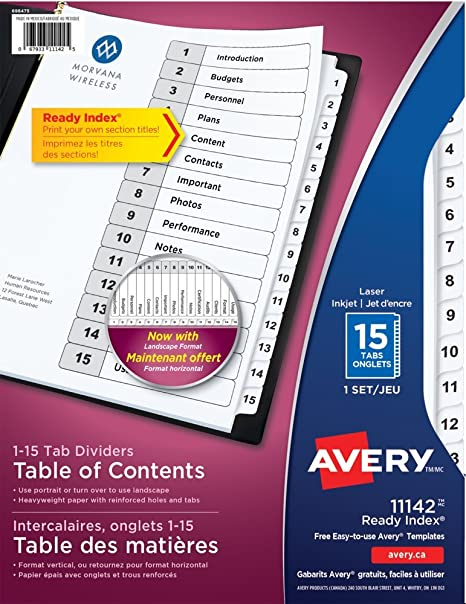 Amazon Avery Classic Ready Index 15 Tab Numbered Dividers With