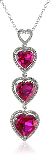 Sterling Silver Created Ruby Heart with Diamond Pendant Necklace, 18