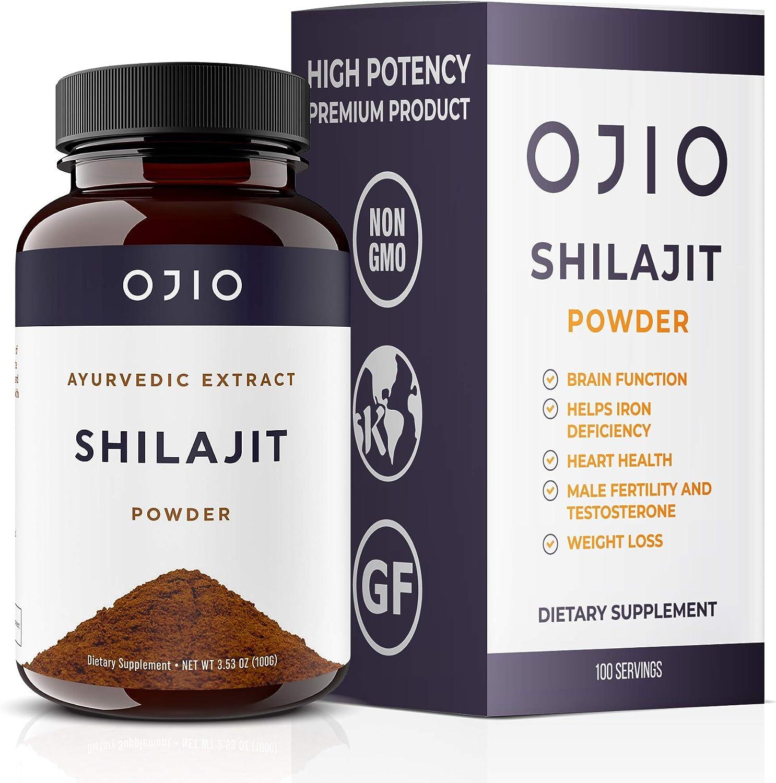 Ojio Shilajit Powder | Premium Grade | Fulvic Acid & Trace Minerals Super Food | Cleansing Detoxification | 1000 mg | 100 Servings – 100 g