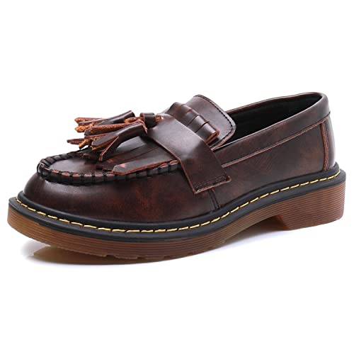 Smilun - Mocasines planos con fleco de borlas para mujer: Amazon.es: Zapatos y complementos