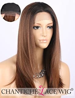 Kryssma long straight brown synthetic hair wig with honey blonde chantiche cheap ombre brown lace front wig dark rooted medium length straight synthetic hair wigs for pmusecretfo Choice Image