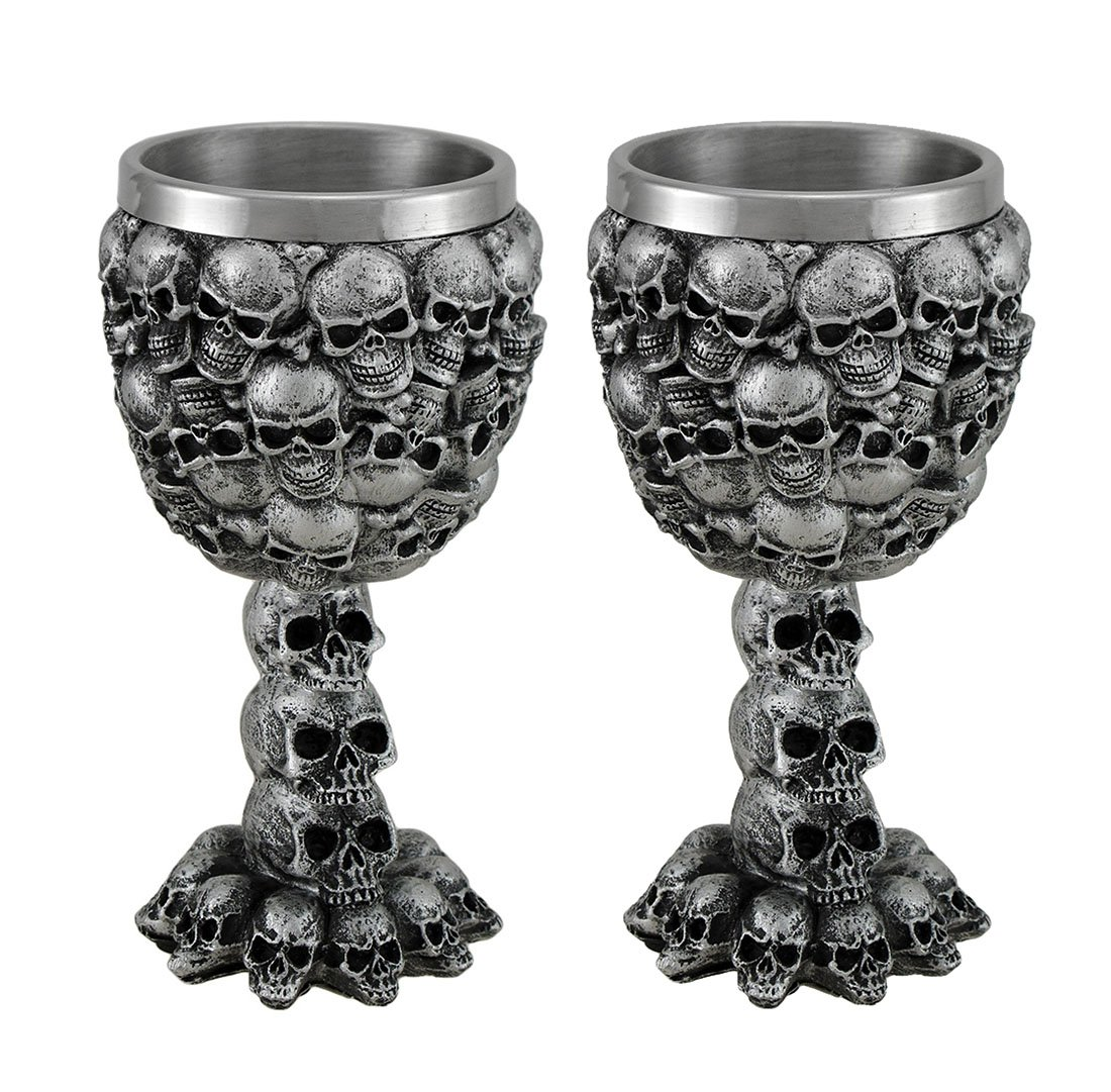 Resin Goblets Set Of 2 Skull Covered Drinking Goblets W/Stainless Steel Liner 3 X 5.5 X 3 Inches Silver