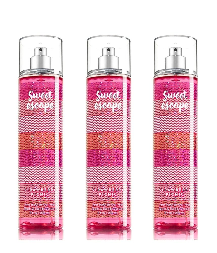 Lot of 3 Bath & Body Works Sweet Escape Strawberry Picnic Fine Fragrance Mist 8 oz