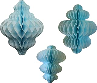 product image for Set of 3 Light Blue Honeycomb Tissue Paper Hanging Ornament Decorations (11 inch, 10 inch, 8 inch)