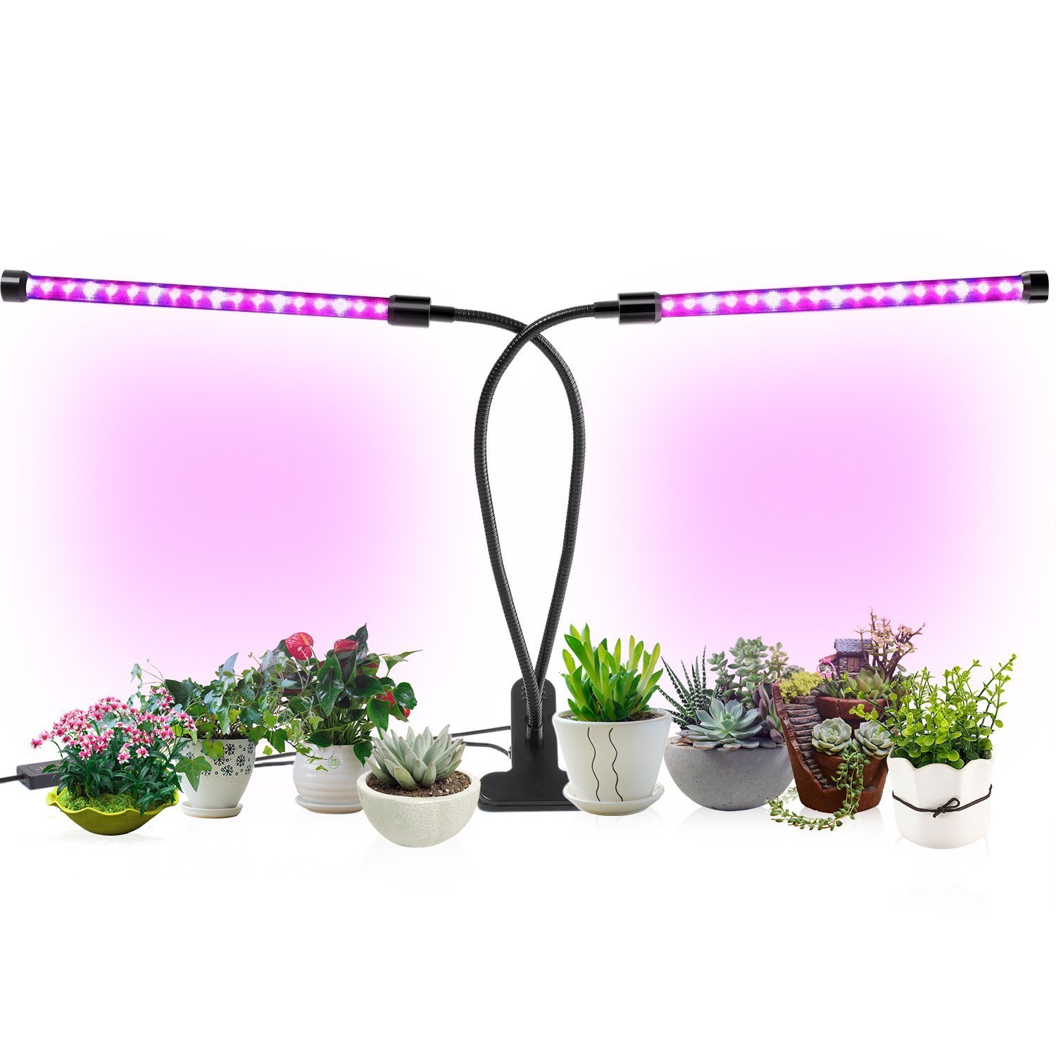 Indoor Plant Grow Lights, Timing Led Grow Light, 36 LED 5 Dimmable Levels Grow lamp with Red/Blue Spectrum, Adjustable Gooseneck, 3/6/12H Timer, 3 Switch Modes by Tiiante