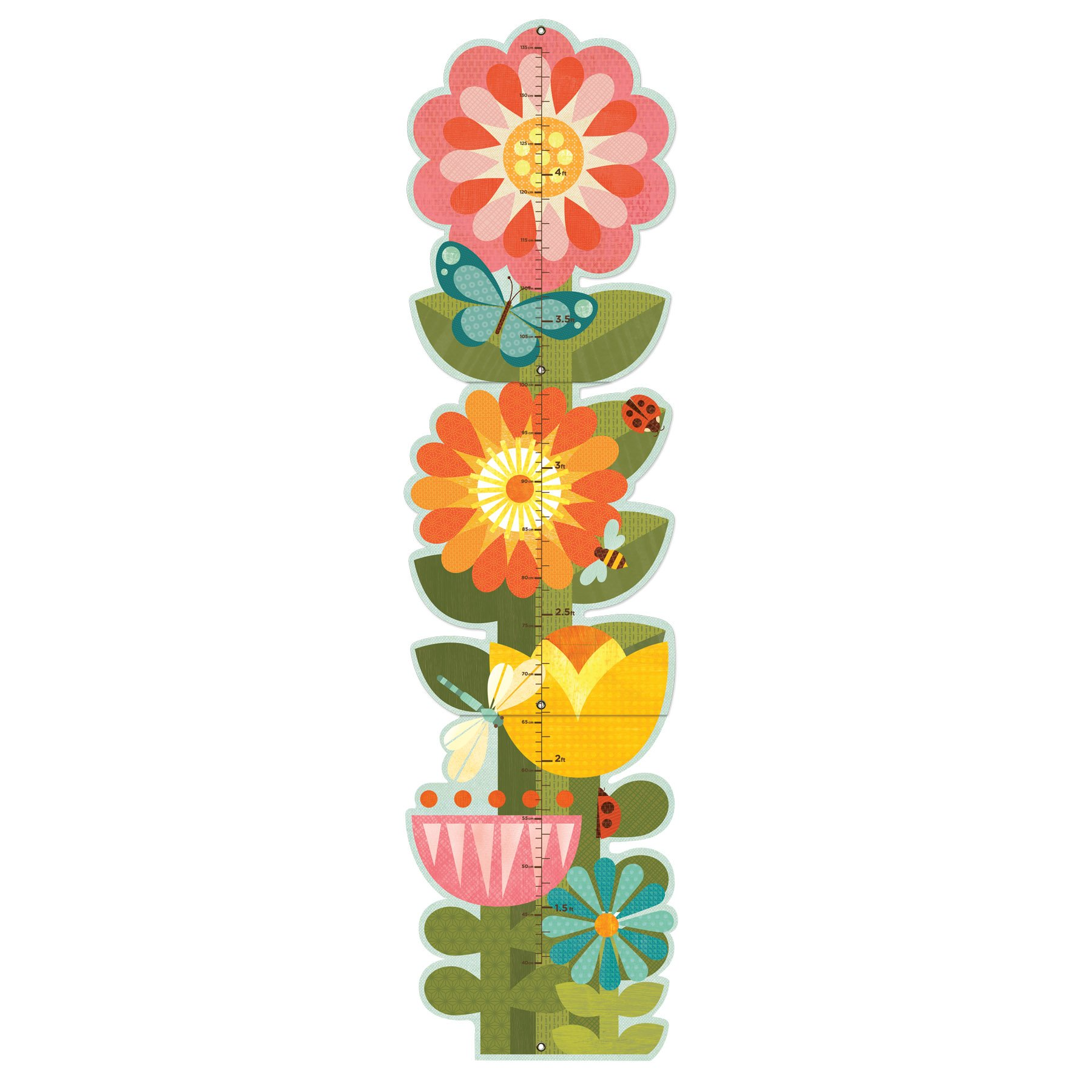 Petit Collage Folding Growth Chart, Garden Flowers by Petit Collage