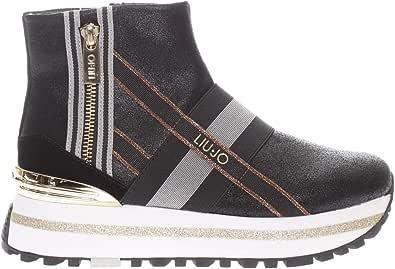 Tronchetto Donna Liu Jo Cuero Negro o Blanco o Multicolor Modelo BF0081PX056-Wonder Maxi con 14 Cuerdas. Un Zapato cómodo para un Aspecto Impecable. Colección Otoño Invierno 2021