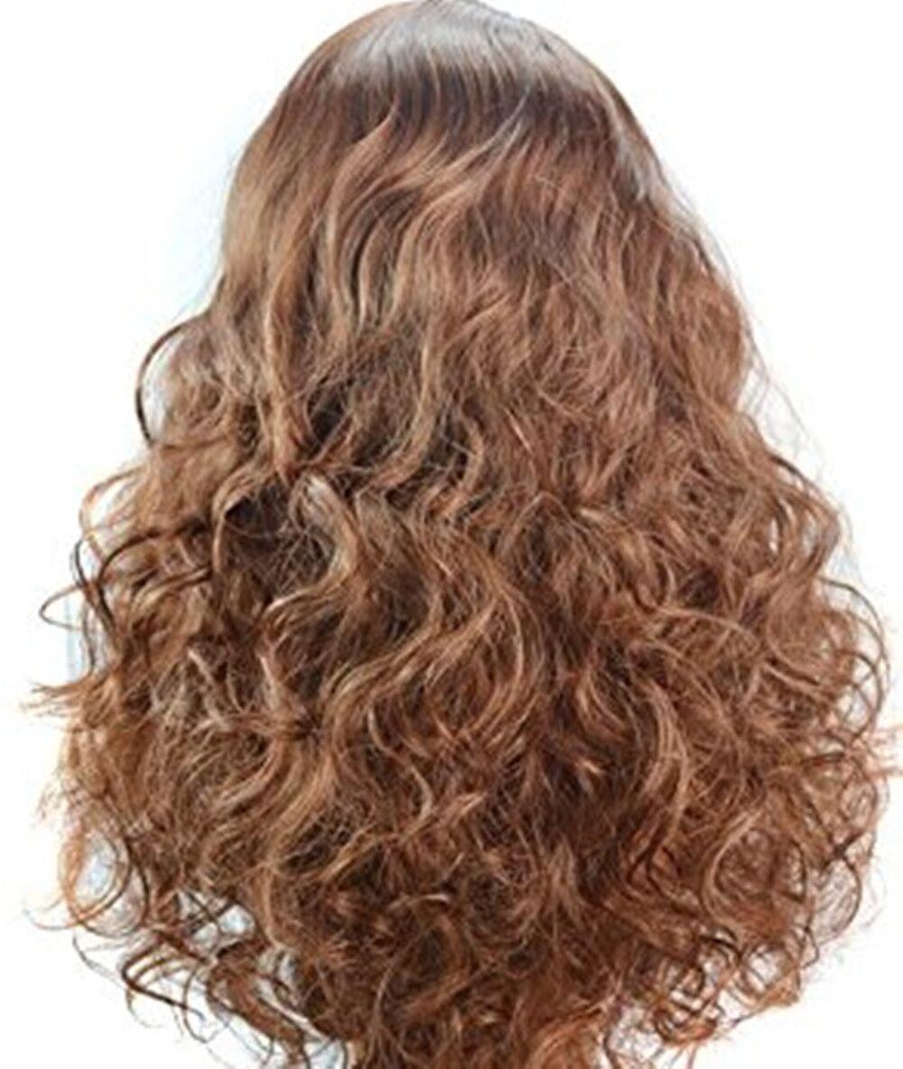 honorhair Natual pelo sintético con Side Bangs glueness frontal de encaje rizado pelucas para las mujeres de color marrón dorado Cosply parte: Amazon.es: ...