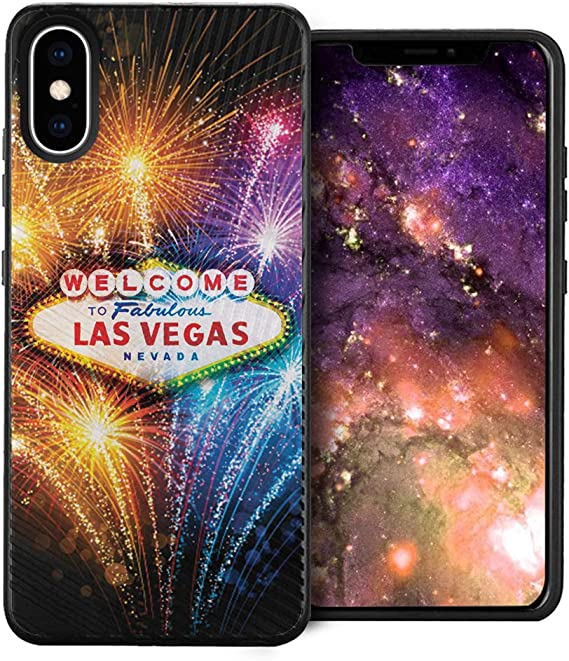 Amazon Com Capsule Case Compatible With Iphone Xs Embossed Diagonal Lines Hybrid Dual Layer Slim Armor Black Case For Iphone Xs Las Vegas Fireworks