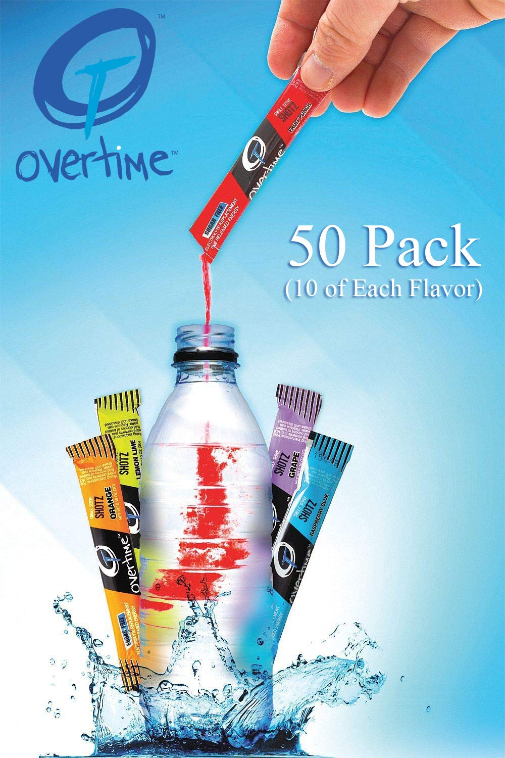 Overtime Electrolyte Replacement Drink Mix - Single Serve Variety Pack - Quantity of 50 (10 of Each Flavor)
