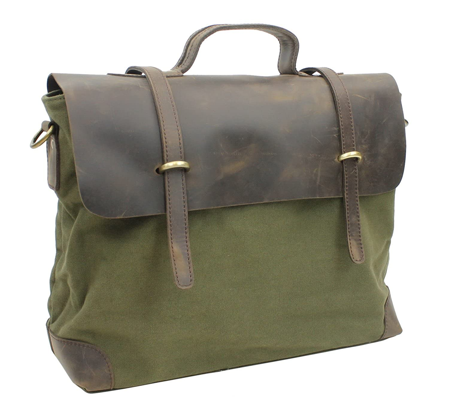 Casual Style Cowhide Leather Cotton Canvas Messenger Bag C41. Green B071VS3PLF
