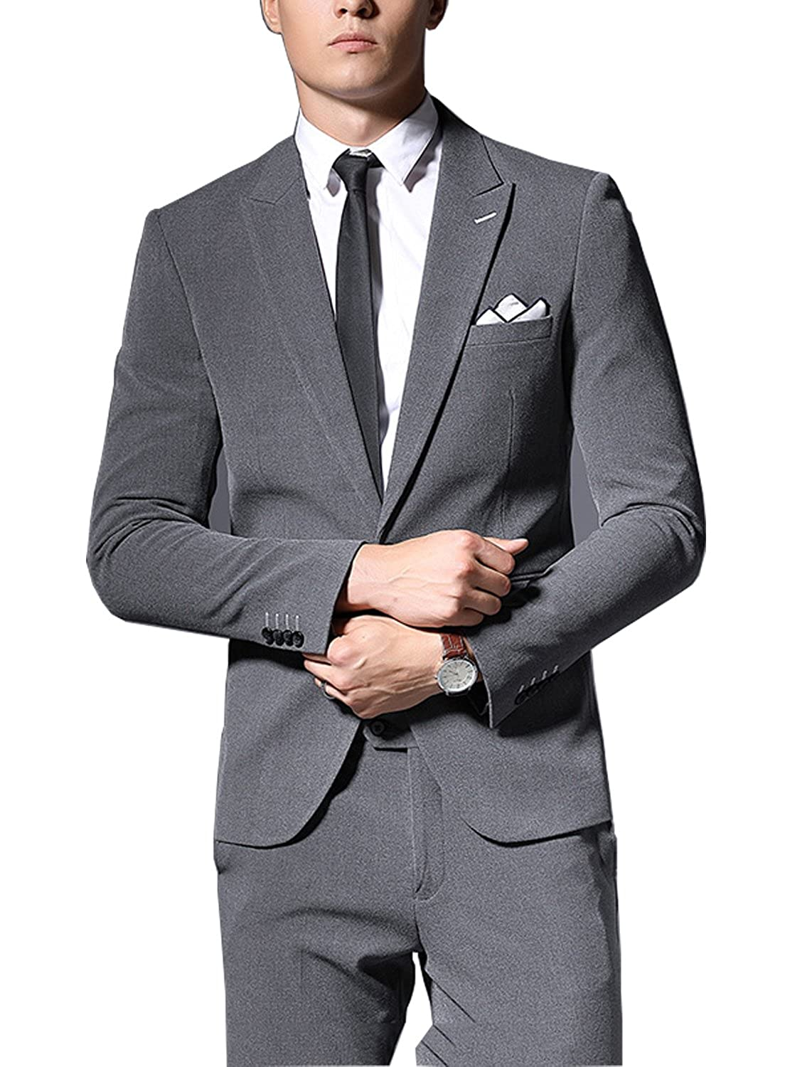 5670efeab0 Michealboy 2-Piece V-Neck Modern Men Fit Wedding Formal Party Blazer at  Amazon Men s Clothing store