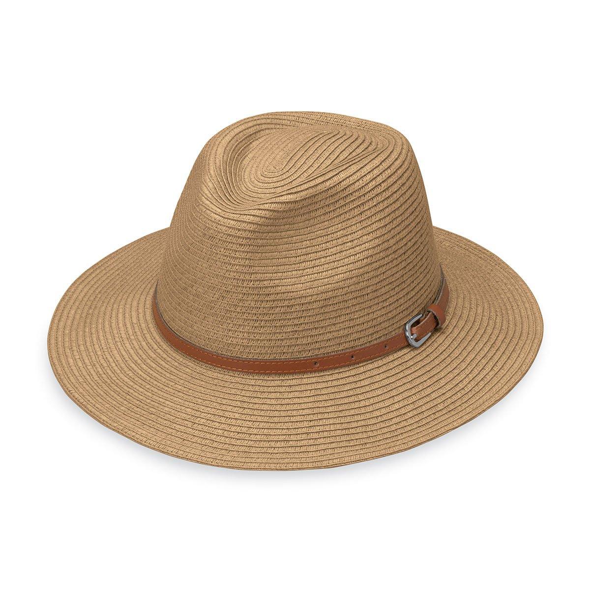 Wallaroo Women's Naples Sun Hat - Colorful Paper Braid Fedora - UPF50+, Camel