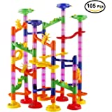 Marble Run Race Coaster Set, Elongdi Marble Run Railway Toys [ 105 Pieces ] Construction Toys Building Blocks Set Marble Run Race Coaster Maze Toys for Kids