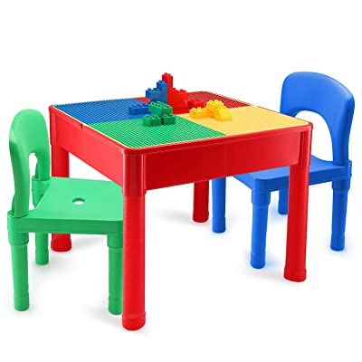 Kids Activity Table and Chair Set - 3 in 1 Kids Table Use As A Water Table, Building Block Table, Play and Arts and Crafts Table, with Storage Space, for Kids, Toddlers - Includes Table and 2 Chairs: Kitchen & Dining