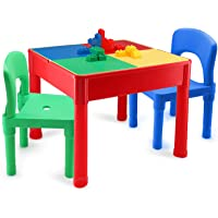 Kids Activity Table and Chair Set - 3 in 1 Kids Table - Water Table, Building Block Table, Play & Arts & Crafts Table…