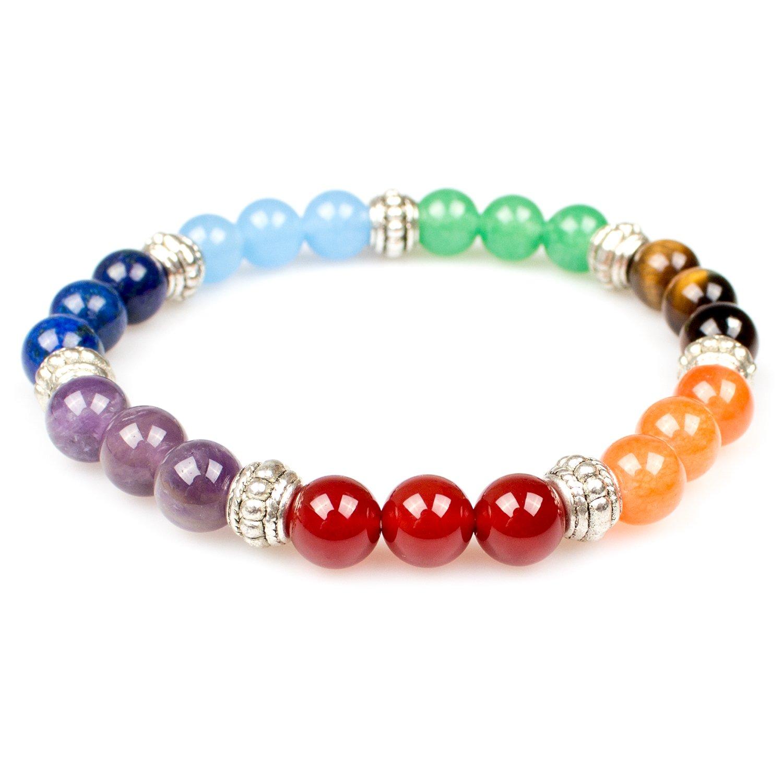 Bracelet, PWMEN Women Men 8mm Round Beads Chakra Bracelet Healing Balance Plated Sliver Gemstone Bracelet 7.08 Jewelry Energy Beads SL-001