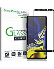 Galaxy Note 9 Screen Protector Glass, amFilm Full Cover (3D Curved) Tempered Glass Screen Protector with Dot Matrix for Samsung Galaxy Note 9 (1 Pack, Black)
