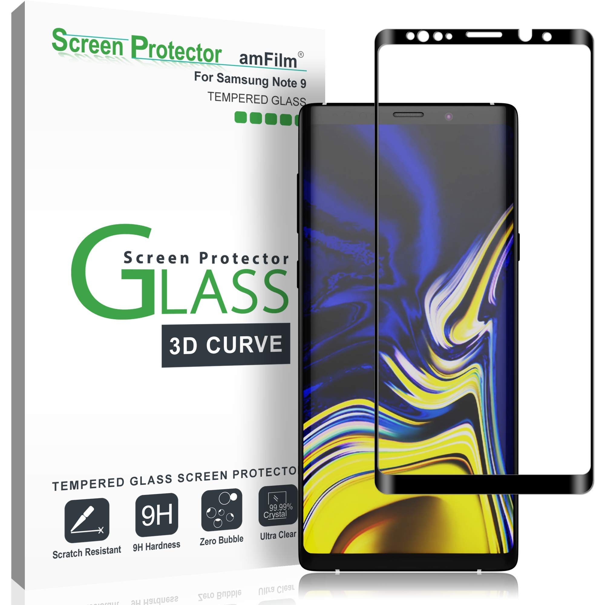 amFilm Glass Screen Protector for Samsung Galaxy Note 9, Full Screen Coverage Screen Protector, 3D Curved Tempered Glass, Dot Matrix with Easy Installation Tray (Black) by amFilm
