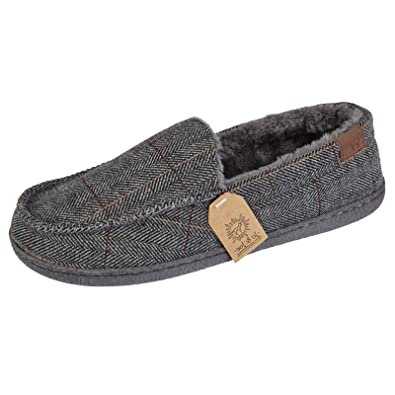 1a951593b6d521 Mens Winchester Tweed Slip On Moccasin Winter Slippers Shoes UK 7 8 9 10 11  12: Amazon.co.uk: Shoes & Bags