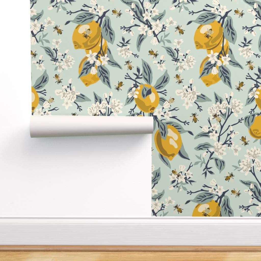 Peel-and-Stick Removable Wallpaper 1940 Retro Kitchen Cherry In Yellow Vintage