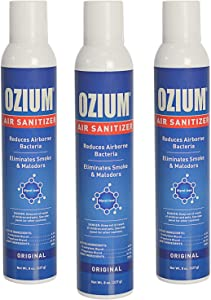 Ozium Air Sanitizer Reduces Airborne Bacteria Eliminates Smoke & Malodors 8oz Spray Air Freshener, Original (3-Pack)