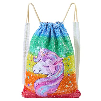 f5c06f93b ICOSY Mermaid Sequin Bag Magic Reversible Sequin Drawstring Backpack Glitter  Dance Bags Flip Sequins Backpack Bags Shining Sports Backpack for Kids  Adults ...