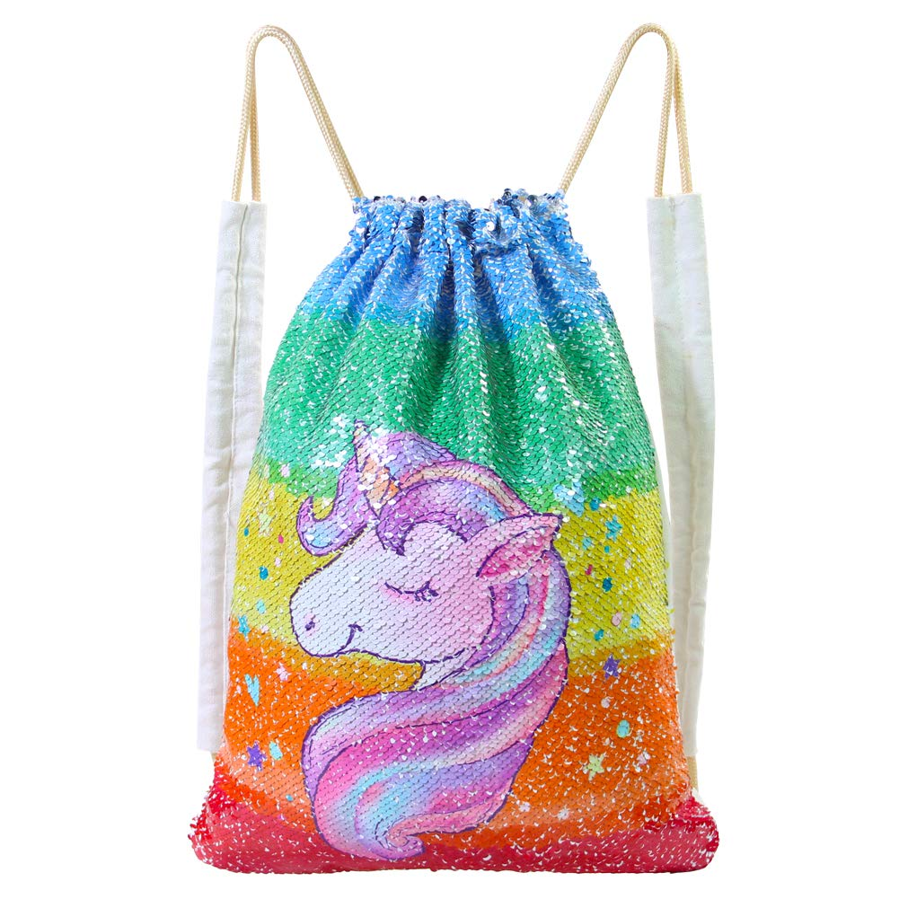 ICOSY Unicorn Mermaid Bag Sequin Drawstring Backpack Flip Sequin Bag Dance Bags Sports Outdoor Travel Backpack Bags for Girls Kids(Rainbow Unicorn)