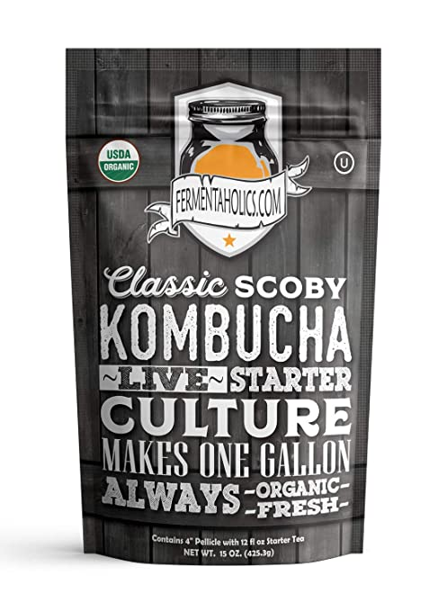 Fermentaholics Organic Kombucha Scoby With Twelve Ounces Of Starter Tea | Live Starter Culture | Makes One Gallon Batch | One And A Half Cups Of Starter Tea by Fermentaholics
