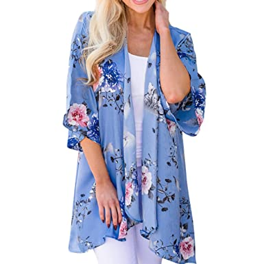 95bd97840 Floral Cardigan, Fashion Womens Chiffon Shawl Print Kimono Cardigan Top  Cover up Blouse Beachwear Blue
