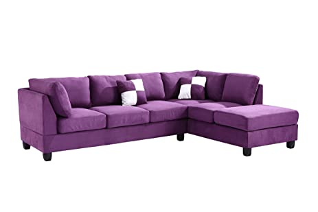 Glory Furniture G637 SC Sectional Sofa, Purple, 2 Boxes