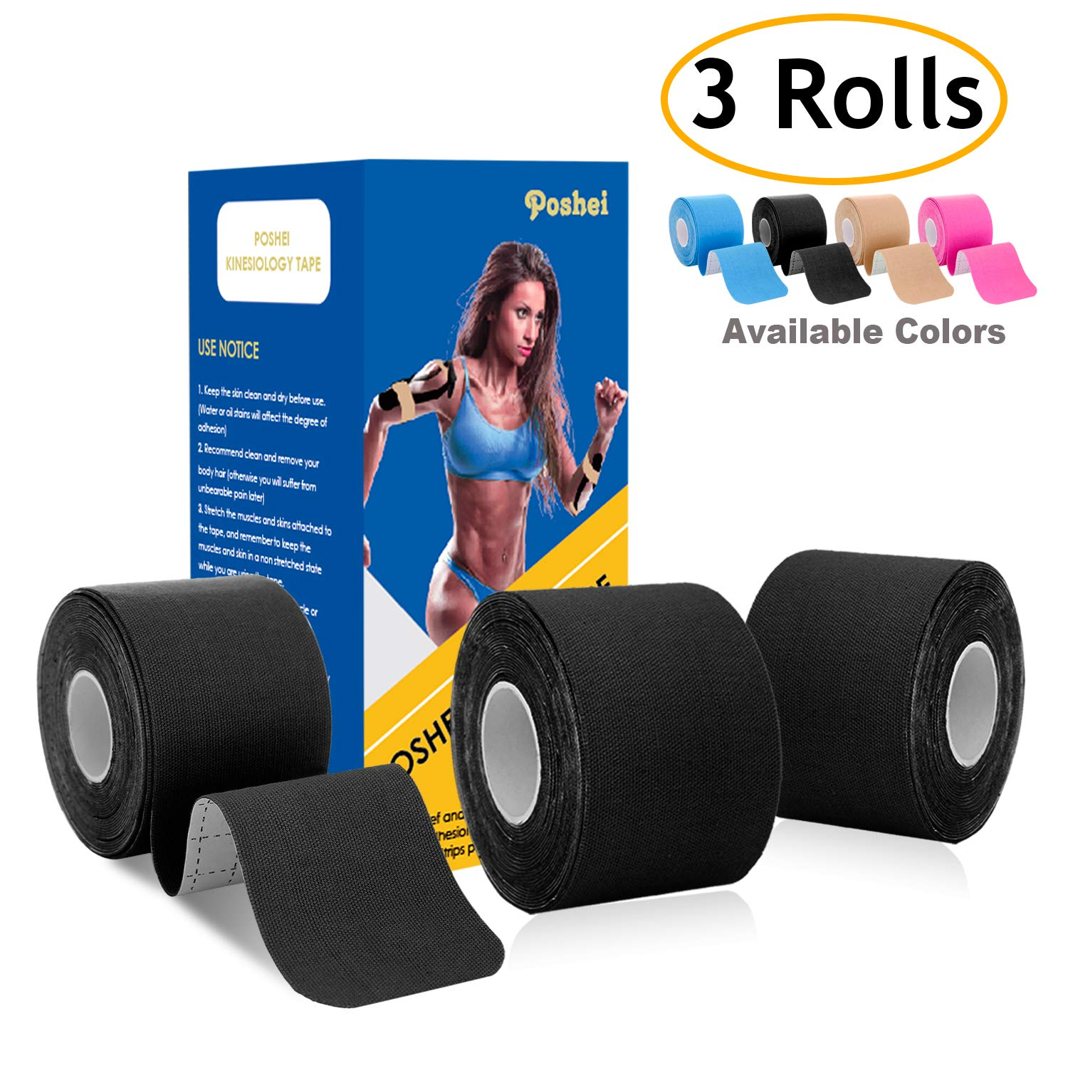 poshei Kinesiology Tape Precut (3 Rolls Pack), Elastic Therapeutic Sports Tape - Pain Relief Adhesive for Shoulder Knee Elbow Ankle, Waterproof, Breathable, Latex Free, 2'' x 16.5 feet Per Roll