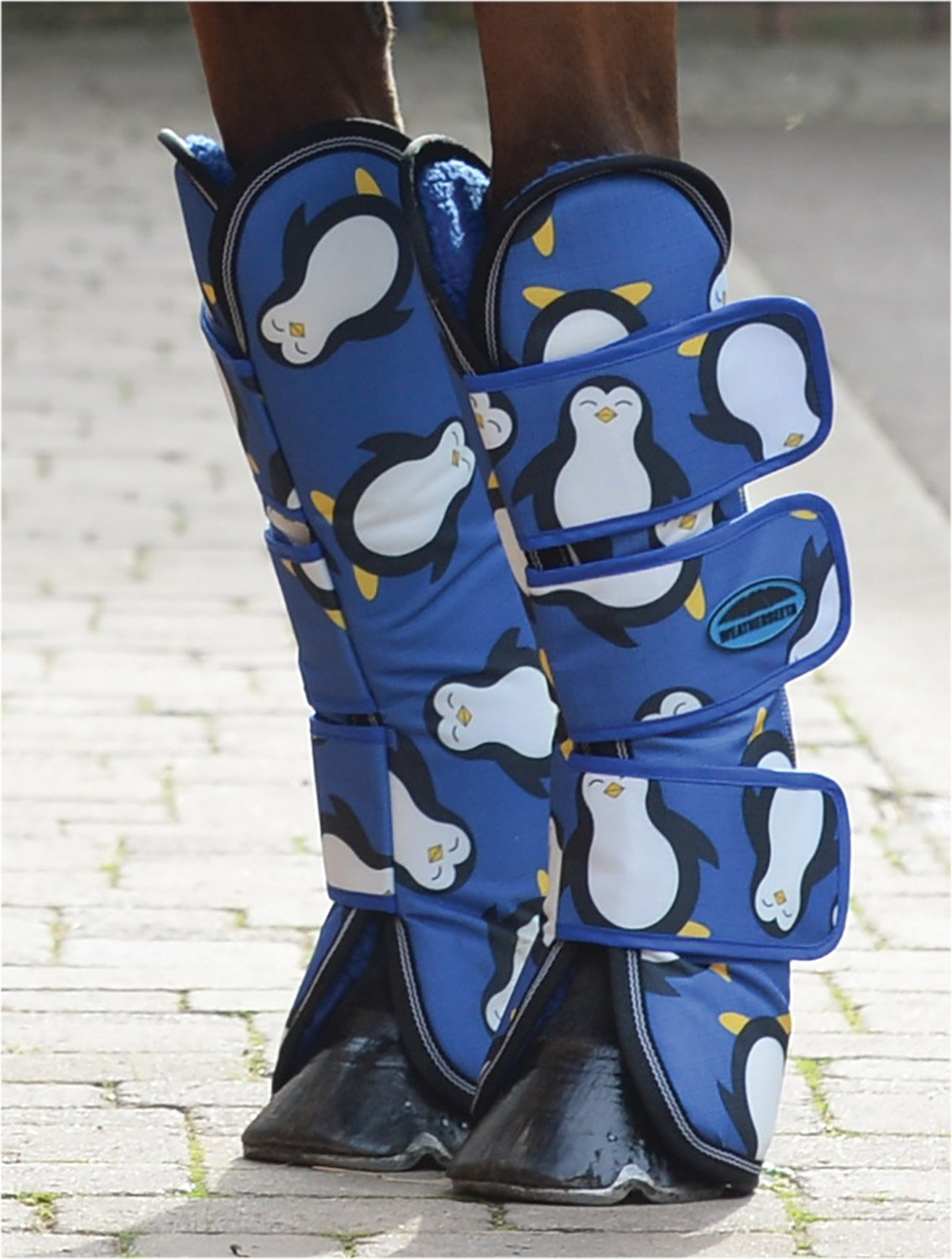 Full Weatherbeeta Wide Tab Long Horse Travel Boots Penguin Print