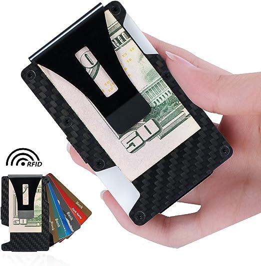 IKEPOD Minimalist RFID Blocking Slim Gear Metal Wallet Front Pocket Credit Card Holder with Money Clip for Men /& Women