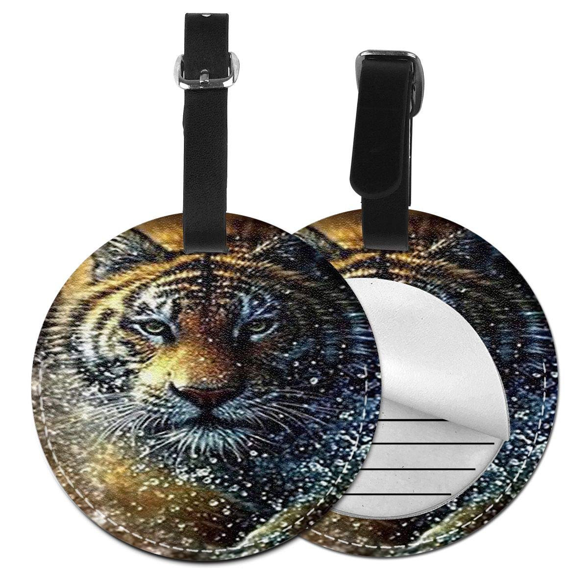 Free-2 Tiger Luggage Tag 3D Print Leather Travel Bag ID Card