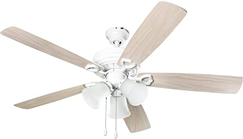 Hyperikon Indoor Ceiling Fan with Lights, 52-Inch White Ceiling Fan, Five Reversible Blades, Three Lights with Pull Chain – Bulb Not Included