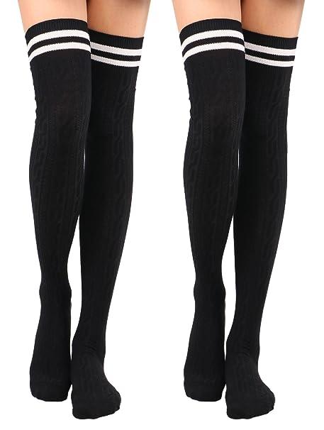 14085cff9e227 Knee High Socks Women's Thigh High Cable Knit Striped Winter Socks,2  Pack-Black2